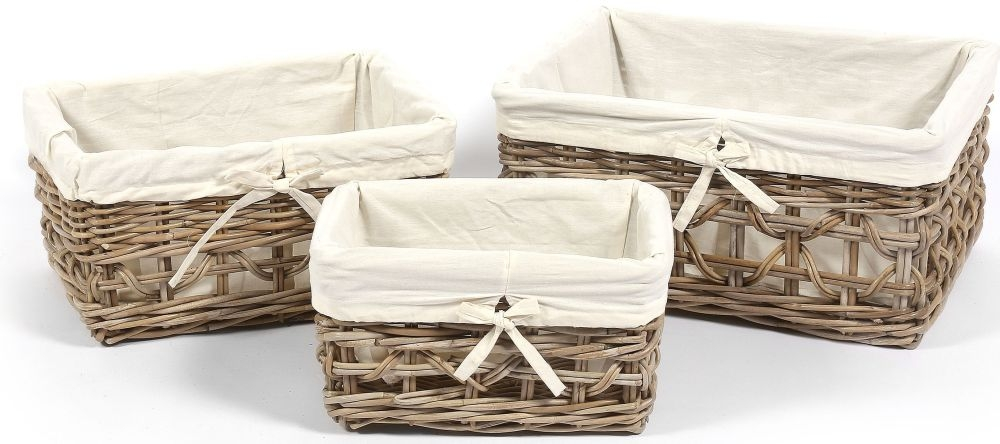 The Wicker Merchant Rectangular Baskets with Weaving and Lining (Set of 3)