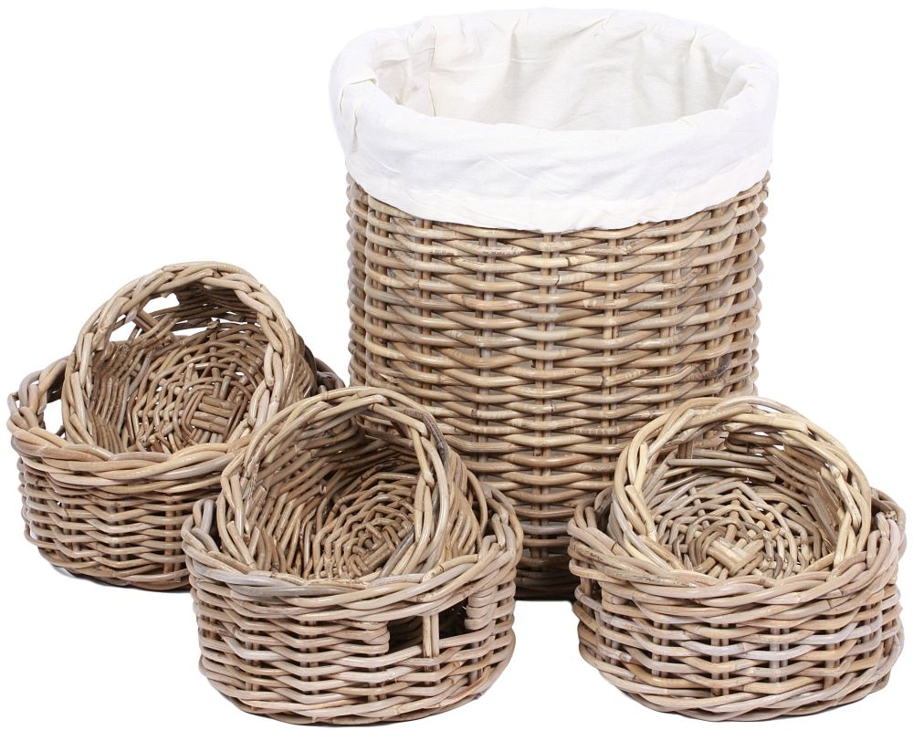 The Wicker Merchant Round Baskets Tall Large Basket with Lining (Set of 7)
