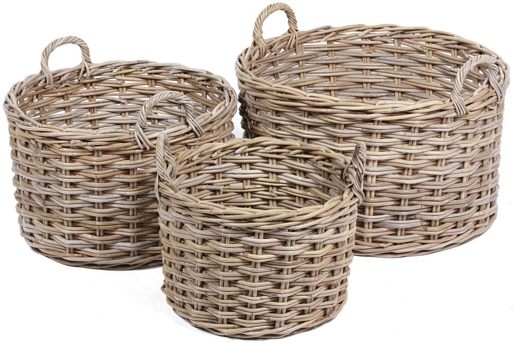 The Wicker Merchant Round Baskets with Ear Handles (Set of 3) WW-033