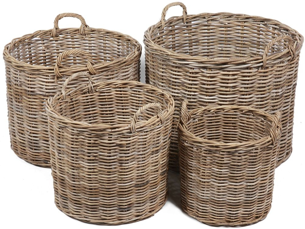 The Wicker Merchant Round Baskets with Ear Handles (Set of 4) WW-041