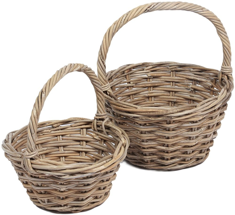 The Wicker Merchant Round Baskets with High Handles (Set of 2)