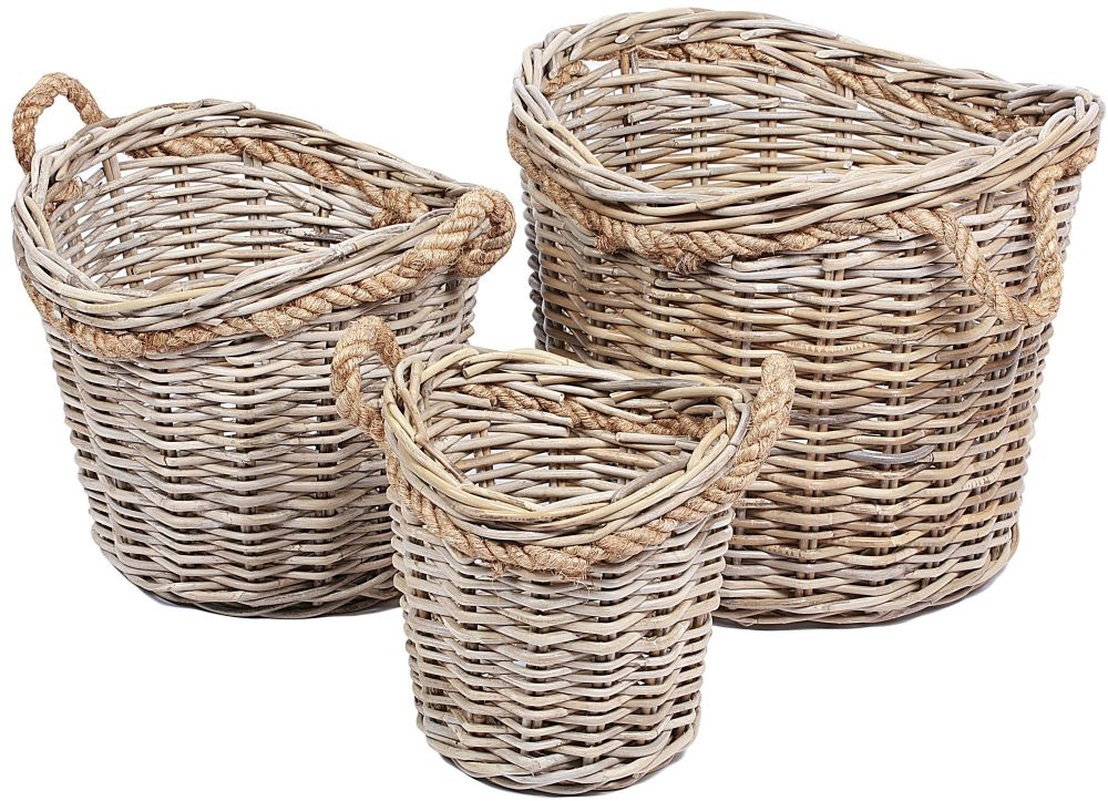 The Wicker Merchant Round Baskets with Rope Handles (Set of 3)