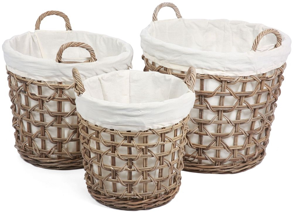 The Wicker Merchant Round Baskets with Weaving and Lining