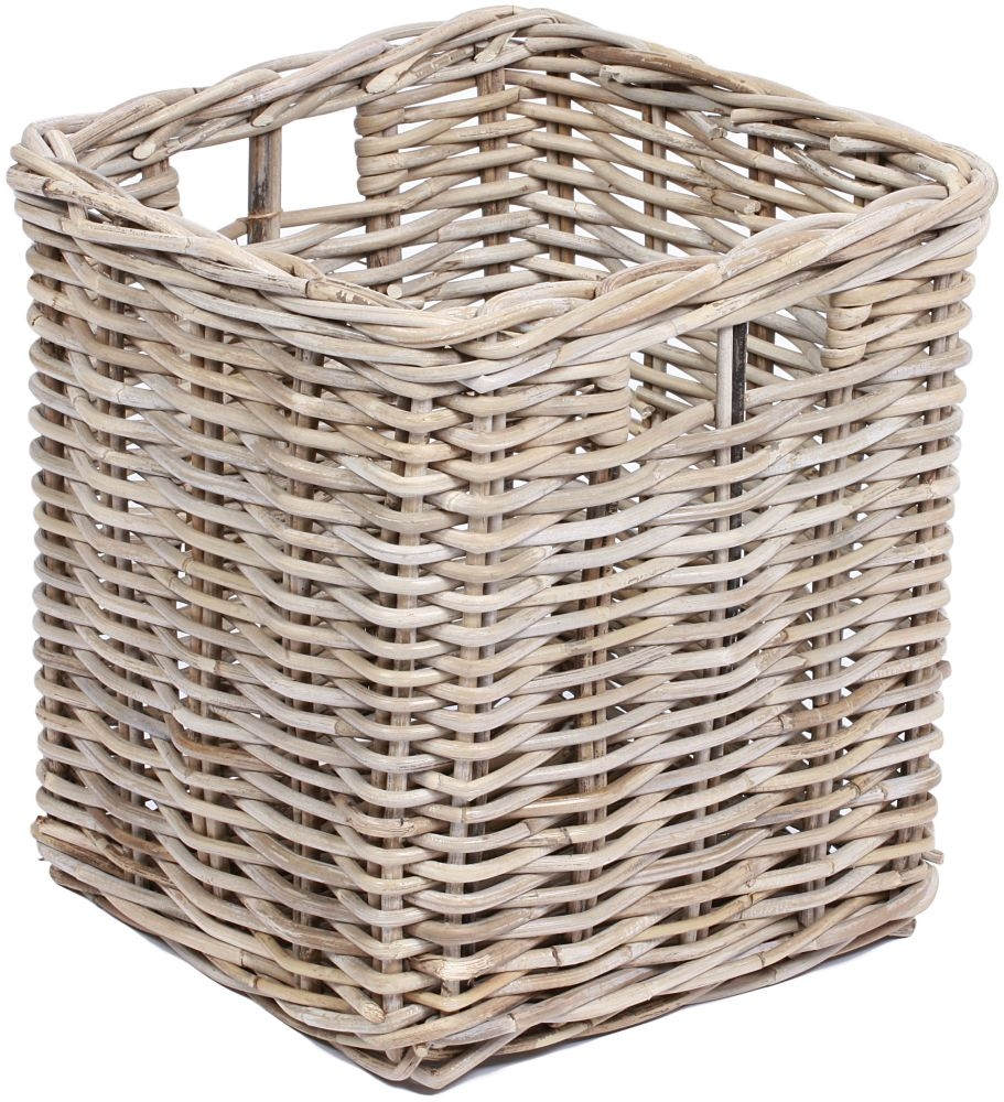 The Wicker Merchant Square Basket with Hole Handles