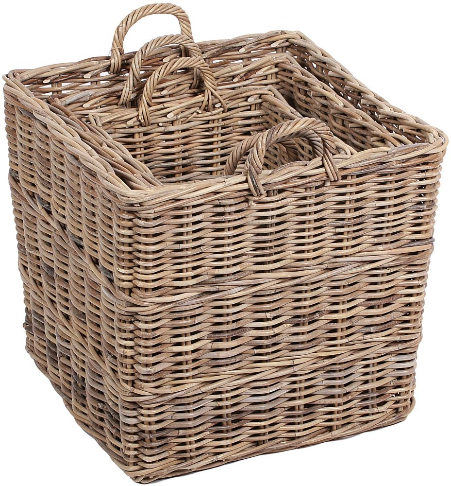 The Wicker Merchant Square Baskets with Ear Handles Lining and Borders (Set of 3)