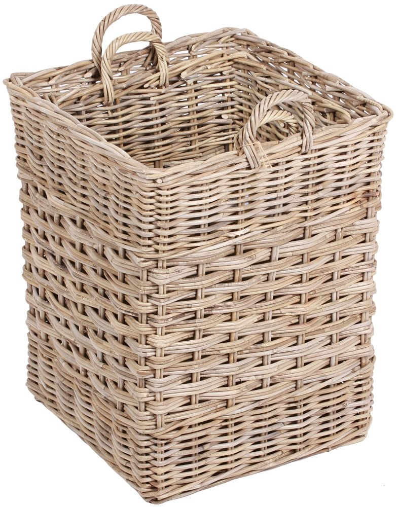 The Wicker Merchant Square Baskets with Ear Handles (Set of 2)