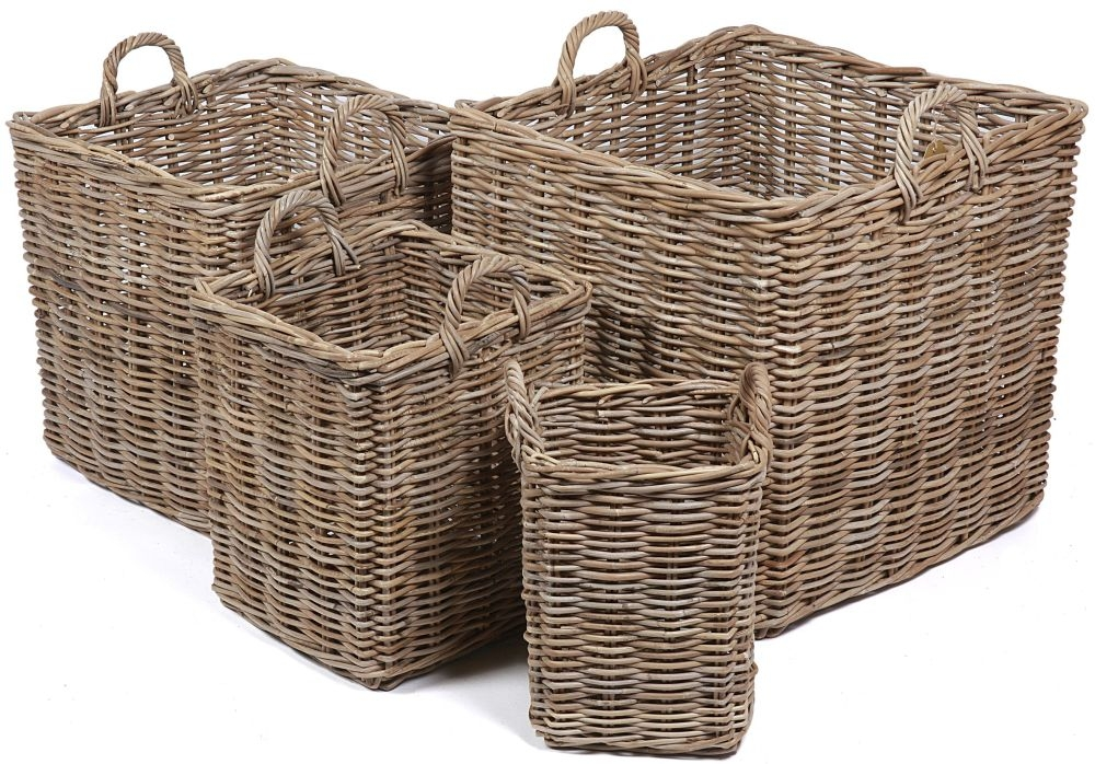 The Wicker Merchant Square Baskets with Ear Handles (Set of 4)