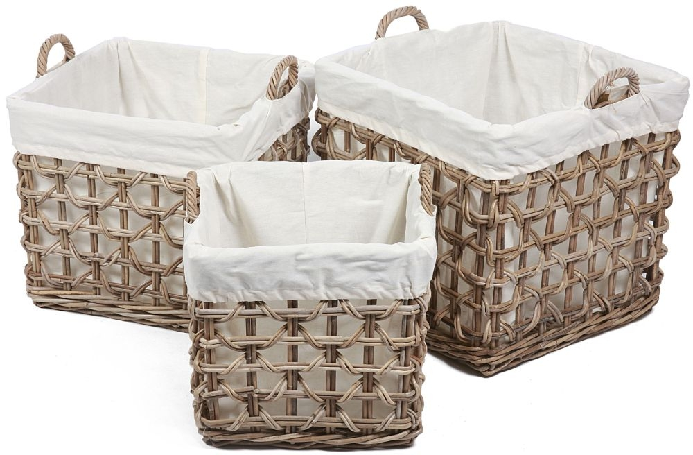 The Wicker Merchant Square Baskets with Ear Handles Weaving and Lining (Set of 3)