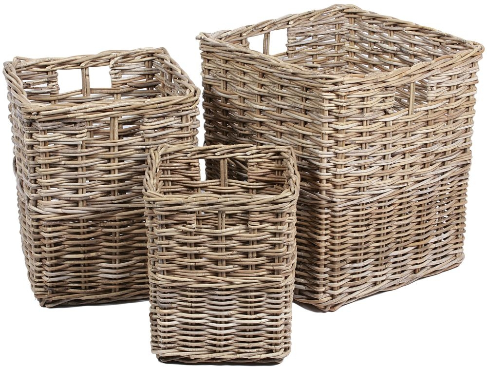 The Wicker Merchant Square Baskets with Hole Handles and Border (Set of 3)