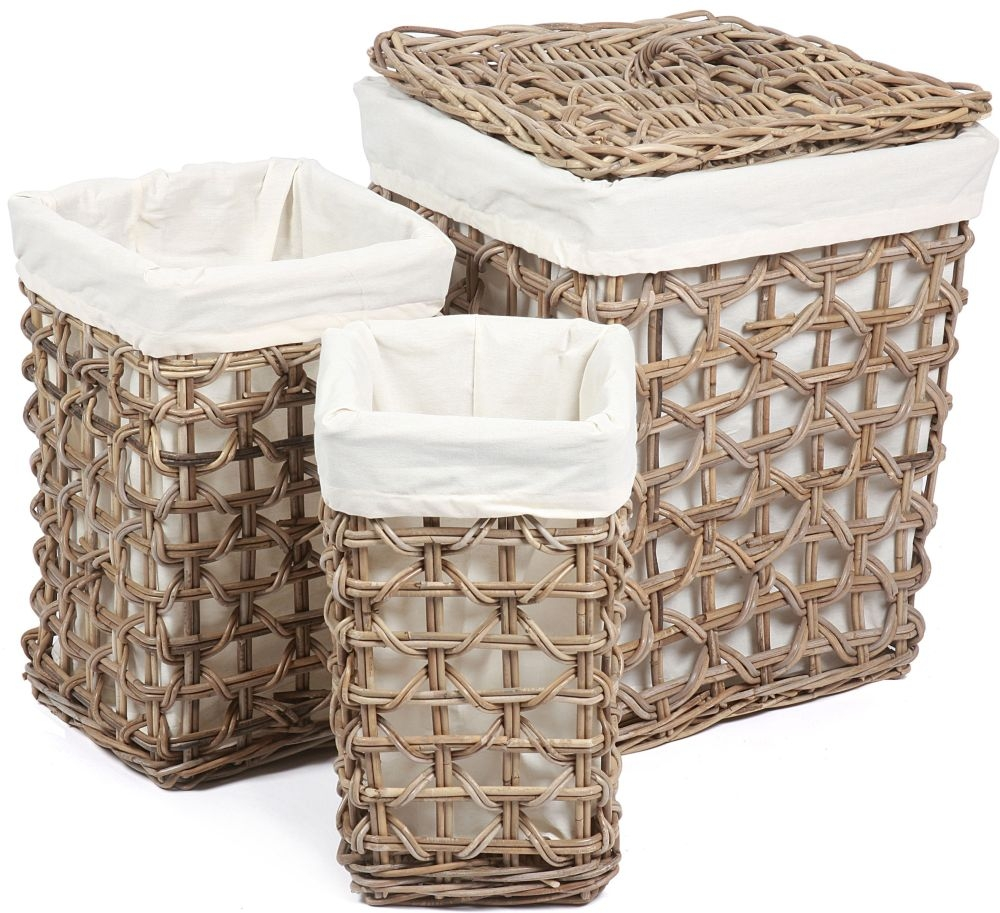 The Wicker Merchant Tall Square Baskets with Weaving and Lining Large Lined and with Lid (Set of 3)