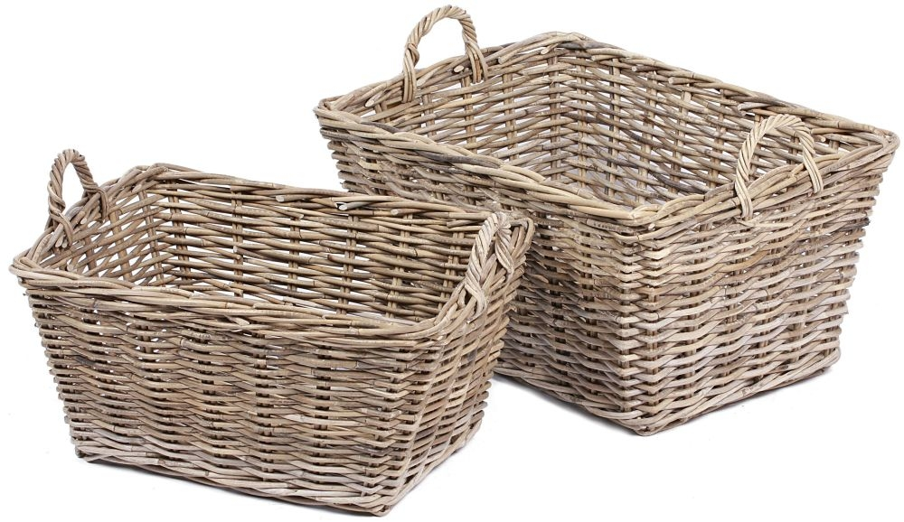 The Wicker Merchant Tapered Rectangular Baskets with Ear Handles (Set of 2)
