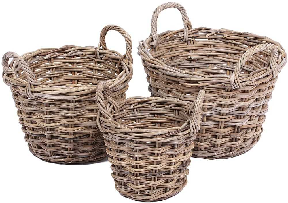 The Wicker Merchant Tapered Round Baskets with Ear Handles (Set of 3)