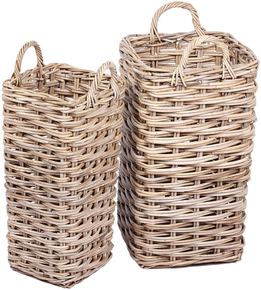The Wicker Merchant Umbrella Baskets with Ear Handles (Set of 2)