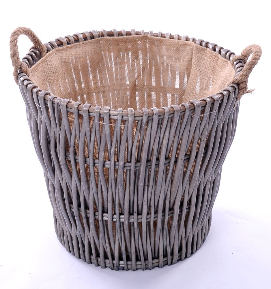 The Wicker Merchant Vertical Weave Log Basket with Rope Ear Handles