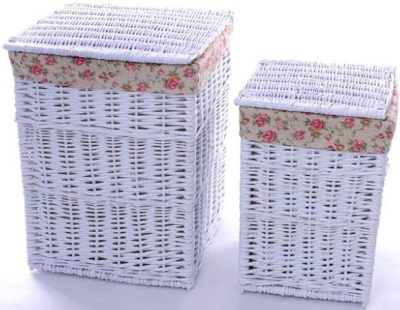 The Wicker Merchant White Square Laundry Basket (Set of 2)
