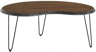 Bretton Walnut and Metal Medium Coffee Table