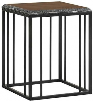 Bretton Walnut and Metal Side Table