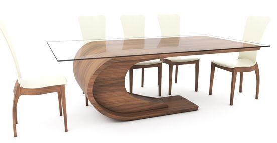 Tom Schneider Crest Glass Top Dining Set with 6 Sasha Chairs
