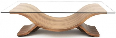 Tom Schneider Wave Glass Top Coffee Table