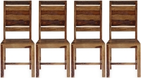 4 x GRANDE Sheesham and Leather Trim Dining Chair with Rungs Across