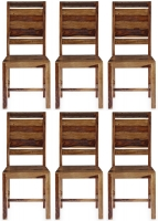 6 x GRANDE Sheesham and Leather Trim Dining Chair with Rungs Across