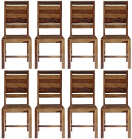 8 x GRANDE Sheesham and Leather Trim Dining Chair with Rungs Across