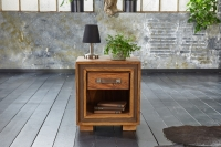 GRANDE Sheesham and Leather Trim 1 Drawer Lamp Table