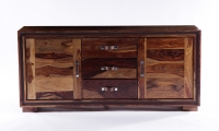 GRANDE Sheesham and Leather Trim 2 Door 3 Drawer Wide Sideboard