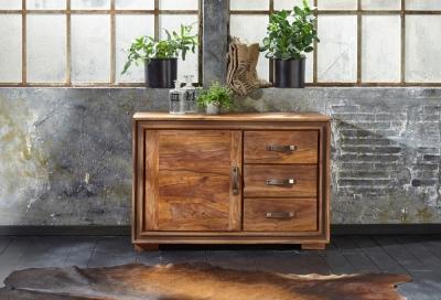 GRANDE Sheesham Wood 1 Door 3 Drawer Narrow Sideboard