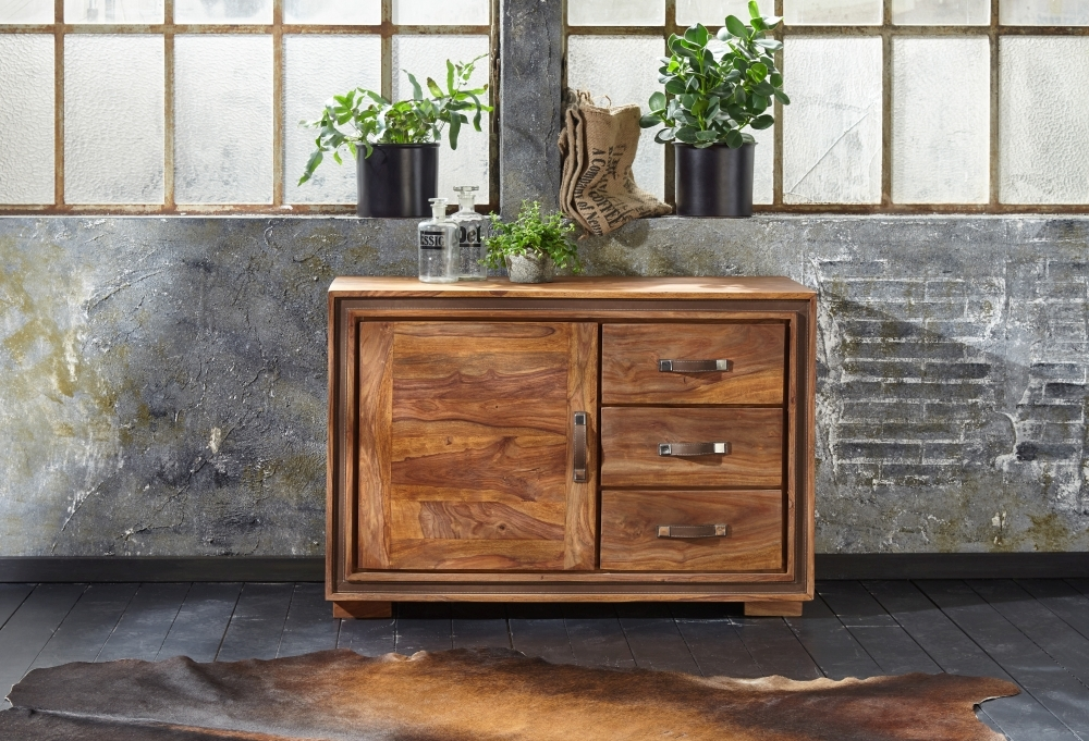 GRANDE Sheesham Wood 1 Door 3 Drawer Narrow Sideboard