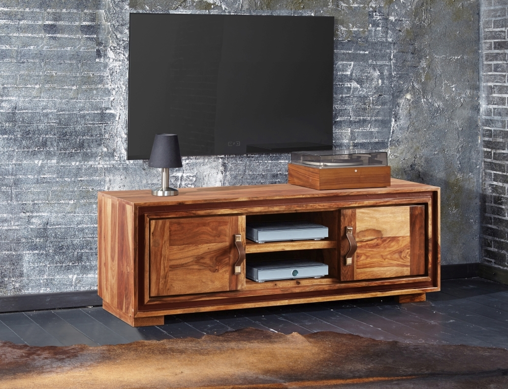 GRANDE Sheesham and Leather Trim 2 Door TV Unit