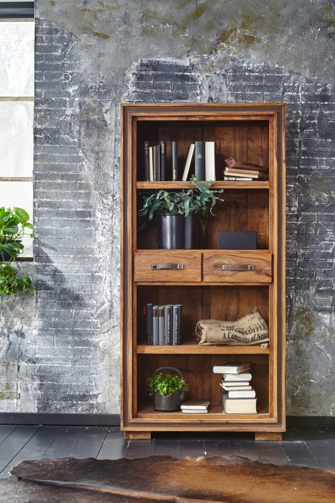 GRANDE Sheesham Wood 2 Drawers Bookcase