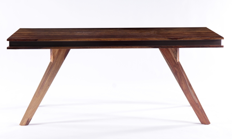 GRANDE Sheesham and Leather Trim Rectangular Dining Table - 180cm