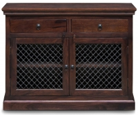 Iron Jali Sheesham 2 Door 2 Drawer Narrow Sideboard