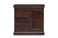 Jali Sheesham Wood 1 Door 3 Drawer Hallway Sideboard