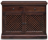 Wood Jali Sheesham 2 Door 2 Drawer Narrow Sideboard