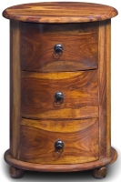 Jali Sheesham Wood 3 Drawer Drum Bedside Cabinet