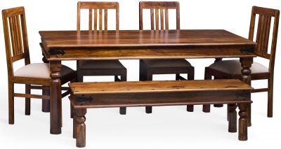 Jali Sheesham Wood Rectangular Dining Set with 4 Chairs and Bench - 180cm