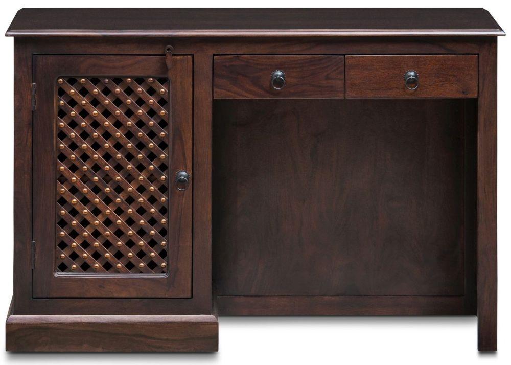 Wood Jali Sheesham 1 Door 2 Drawer Single Pedestal Desk
