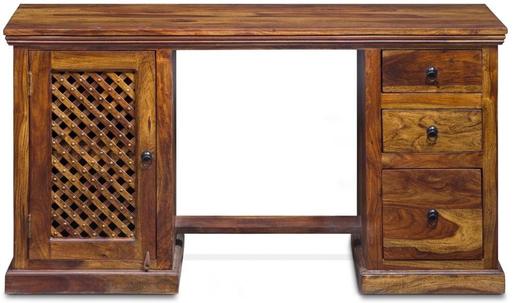 Jali Sheesham Wood 1 Door 3 Drawer Double Pedestal Desk