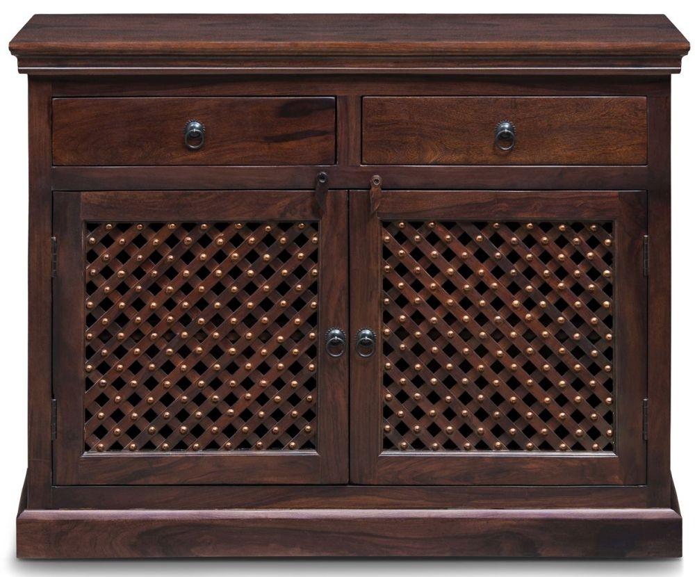 Jali Sheesham Wood 2 Door 2 Drawer Narrow Sideboard