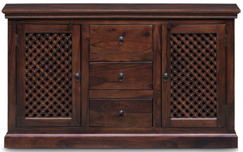 Wood Jali Sheesham 2 Door 3 Drawer Wide Sideboard