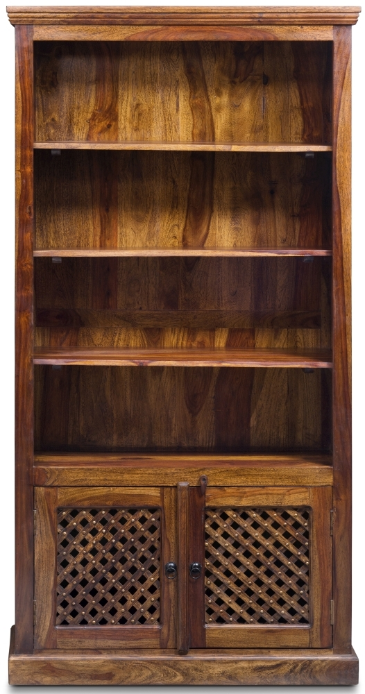 Jali Sheesham Wood 2 Door 3 Shelves Bookcase