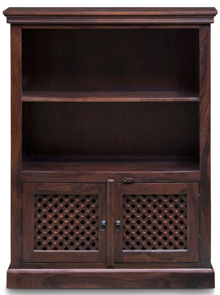 Wood Jali Sheesham 2 Door 1 Shelf Medium Bookcase