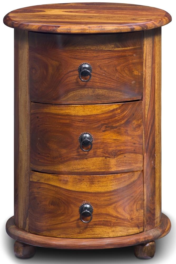 Jali Sheesham Wood 3 Drawer Drum Bedside Cabinet