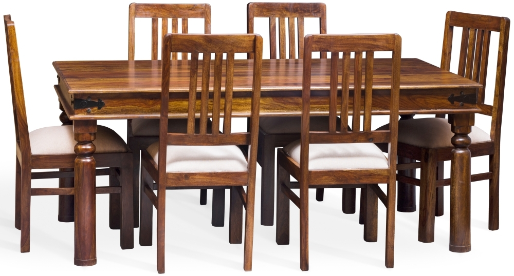 Jali Sheesham Wood Rectangular Dining Set with 6 Chairs - 180cm