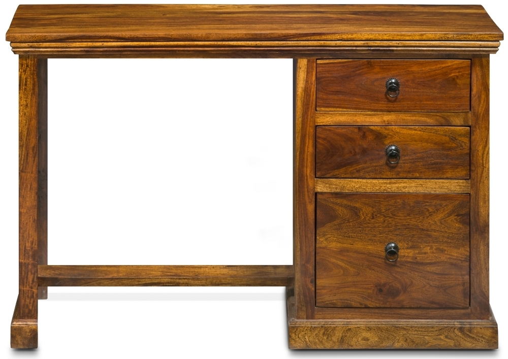 Wood Jali Sheesham 3 Drawer Single Pedestal Desk