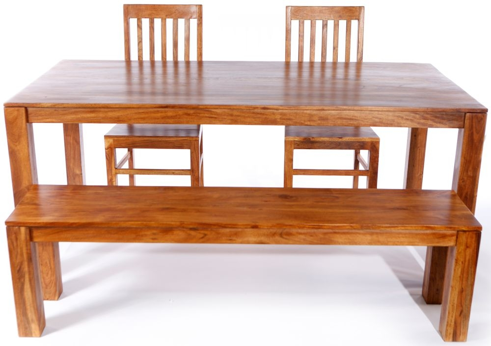Java Acacia 180cm Dining Set with 2 Chair and Bench