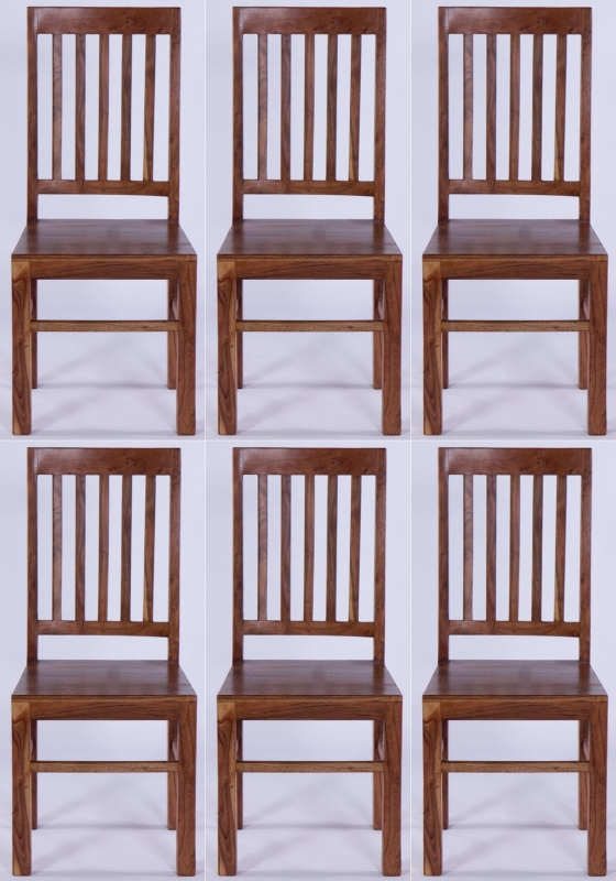 6 x Java Acacia Slatted Dining Chair