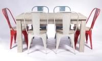 Urban Deco Shabby Chic White Washed Distressed Rectangular Dining Set with 6 Iron Metal Chairs - 180cm